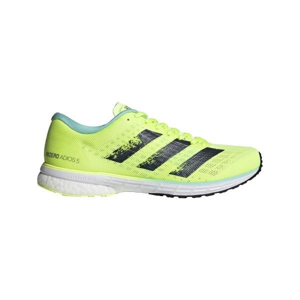 Adidas Adizero Adios 5 - Womens Running Shoes - Hi-Res Yellow/Crew Navy/ Clear Aqua