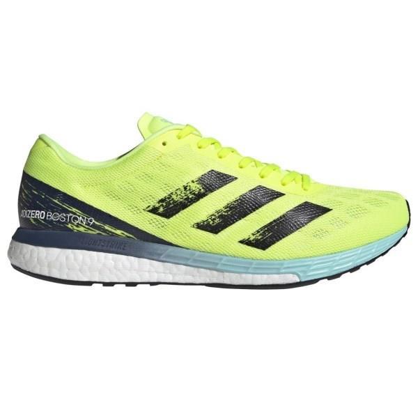 Adidas Adizero Boston 9 - Mens Running Shoes - Solar Yellow/Core Black/Clear Aqua
