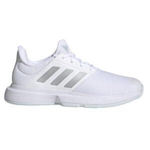 Adidas GameCourt - Womens Tennis Shoes - White/Silver/Halo Blue