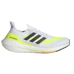 Adidas UltraBoost 21 - Mens Running Shoes - White/Black/Solar Yellow