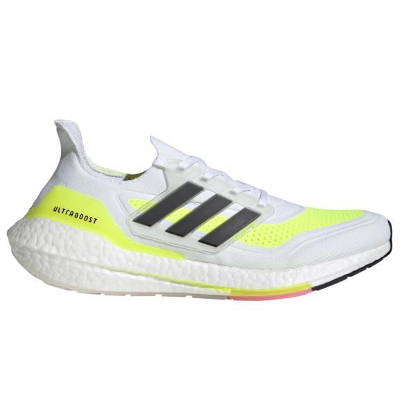 Adidas UltraBoost 21 - Womens Running Shoes - White/Black/Solar Yellow