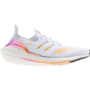Adidas UltraBoost 21 - Womens Running Shoes - Crystal White/Acid Orange