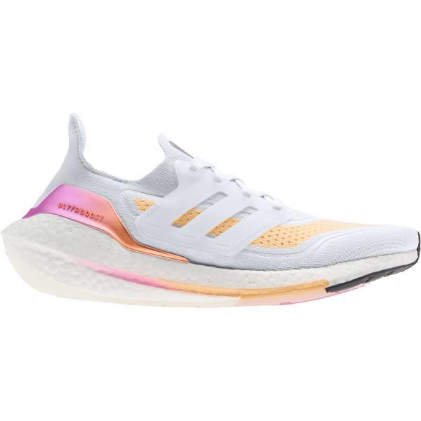 Adidas UltraBoost 21 - Womens Running Shoes - Crystal White/Acid Orange