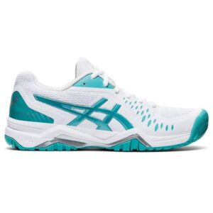Asics Gel Challenger 12 Hardcourt - Womens Tennis Shoes - White/Techno Cyan
