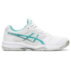 Asics Gel Dedicate 6 Hardcourt - Womens Tennis Shoes - White/Techno Cyan