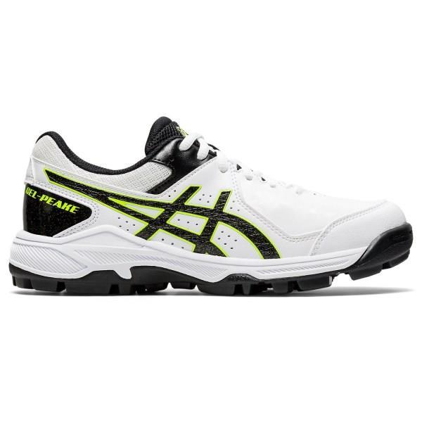 Asics Gel Peake GS - Kids Cricket Shoes - White/Black