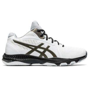 Asics Netburner Ballistic FF MT 2 - Mens Volleyball Indoor Court Shoes - White/Gunmetal