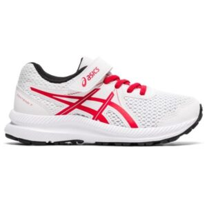 Asics Contend 7 PS - Kids Running Shoes - White/Classic Red