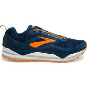 Brooks Cascadia 14 - Mens Trail Running Shoes - Poseidon/Orange/Grey