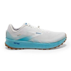 Brooks Catamount - Womens Trail Racing Shoes - White/Iced Aqua/Blue