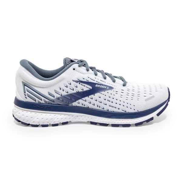 Brooks Ghost 13 - Mens Running Shoes - White/Deep Cobalt