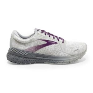 Brooks Adrenaline GTS 21 - Womens Running Shoes - White/Oyster/Primer Grey