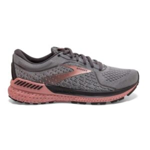 Brooks Adrenaline GTS 21 - Womens Running Shoes - Grey/Rose Gold Metallic/Black