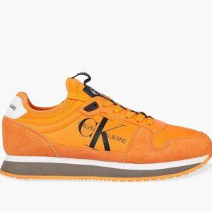 Calvin Klein Mens Suede Sneakers Vivid Orange