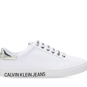 Calvin Klein Womens Low Profile Lace Up Sneaker Bright White