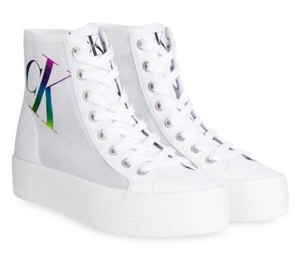 Calvin Klein Womens Vulcanised Hightop Sneaker Bright White