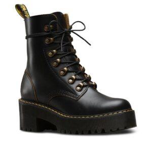Dr Martens Leona Vintage Heeled Boot Black Vintage Smooth