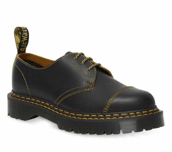 Dr Martens 1461 Bex Double Stitch Shoe Black+Yellow
