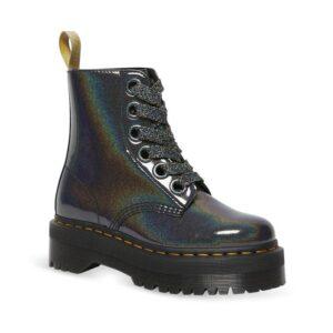 Dr Martens Vegan Molly Rainbow Boot Gunmetal