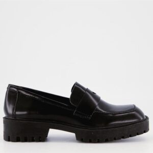 ITNO Womens Boxed Loafer Black Boxed Leather