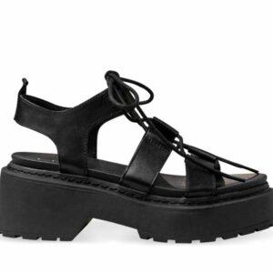 ITNO Womens Jagger Sandal Black Leather