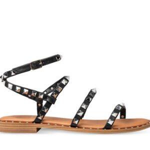 ITNO Womens Monika Studded Sandal Black Natural