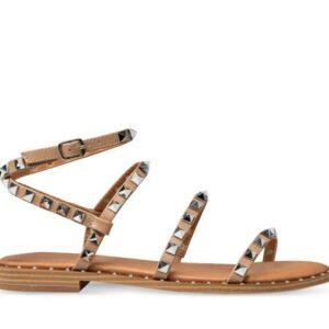 ITNO Womens Monika Studded Sandal Caramel Natural