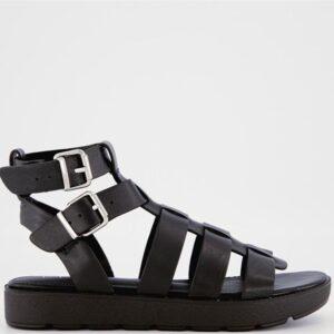 ITNO Womens Giza Gladiator Sandal Black Leather