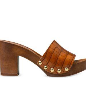 ITNO Womens Ryder Mule Clog Caramel Leather