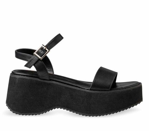 ITNO Womens Aaliyah Sandal Black Leather