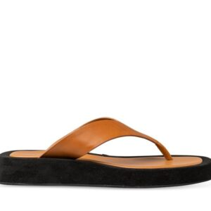 ITNO Womens Brandy Sandal Tan Black Leather