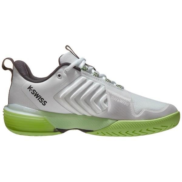 K-Swiss Ultrashot 3 Mens Tennis Shoes - White/Soft Neon Green/Blue Graphite