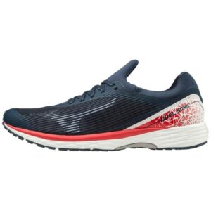 Mizuno Wave Duel Sonic - Mens Running Shoes - Dress Blues/High Risk Red/White