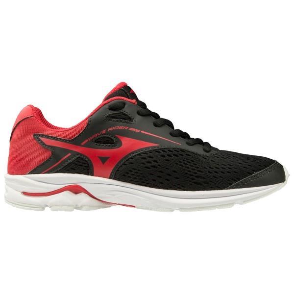 Mizuno Wave Rider 23 - Kids Running Shoes - Black/Chinese Red