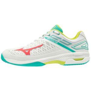 Mizuno Wave Exceed 4 AC - Mens Tennis Shoes - White/Crimson/Teal