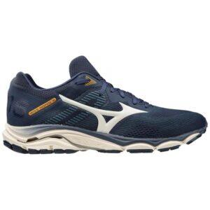 Mizuno Wave Inspire 16 - Mens Running Shoes - Mood Indigo/Snow White/Flame Orange