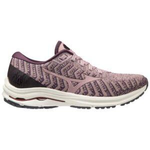 Mizuno Wave Rider 24 Waveknit - Womens Running Shoes - Woodrose/Pale Lilac/Plum