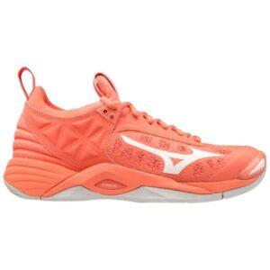 Mizuno Wave Momentum - Womens Netball Shoes - Living Coral/Snow White