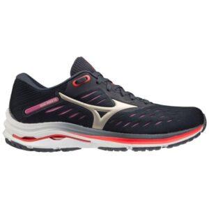 Mizuno Wave Rider 24 - Womens Running Shoes - India Ink/Platinum Gold