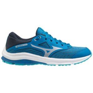 Mizuno Wave Rider 24 - Kids Running Shoes - Mykonos Blue/Cool Silver