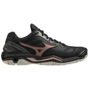 Mizuno Wave Stealth 5 - Womens Netball Shoes - Black/Rose Gold