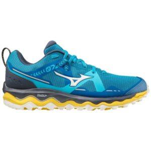 Mizuno Wave Mujin 7 - Mens Trail Running Shoes - Mykonos Blue/Snow White/Yellow