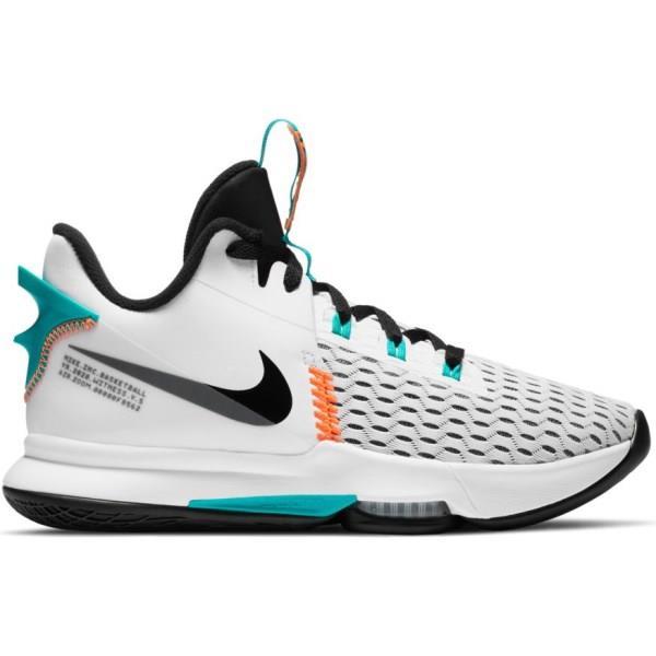 Nike Lebron Witness V - Mens Basketball Shoes - White/Black/Clear Jade/Total Orange