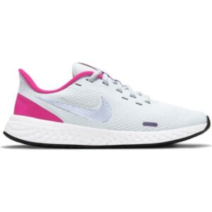 Nike Revolution 5 GS - Kids Running Shoes - Football Grey/Purple Pulse/Fireberry