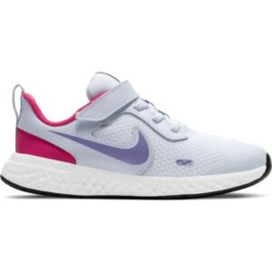 Nike Revolution 5 PSV - Kids Running Shoes - Football Grey/Purple Pulse/Fireberry
