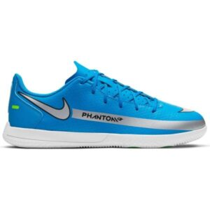 Nike Jr Phantom GT Club Dynamic IC - Kids Indoor Soccer Shoes - Photo Blue/Metallic Silver/Rage