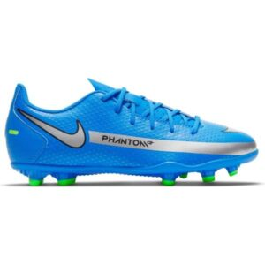 Nike Jr Phantom GT Club MG - Kids Football Boots - Photo Blue/Metallic Silver/Rage Green