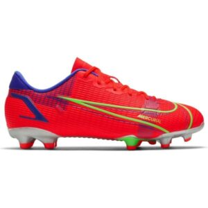 Nike Jr Mercurial Vapor 14 Academy FG/MG - Kids Football Boots - Bright Crimson/Metallic Silver