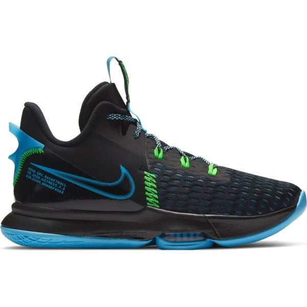 Nike Lebron Witness V - Mens Basketball Shoes - Black/Green Strike/Light Blue/Lagoon Pulse