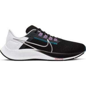 Nike Air Zoom Pegasus 38 - Mens Running Shoes - Black/Metallic Silver/White